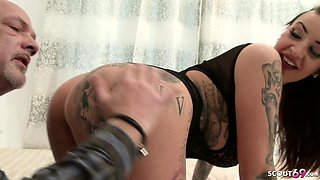 DADDY CAUGHT GERMAN BIG TIT TATTOO STEP DAUGHTER AND FUCK