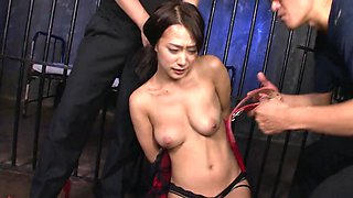 Helpless Japanese slut dominated by two impudent bruisers
