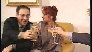 Hot european girls entertain two friends after corporate