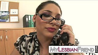 lesbian secretary oral office sex on the desk with the horny boss lady