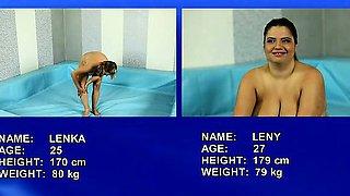 Hottest BBWs Lenka and Leny wrestling nude on the mat