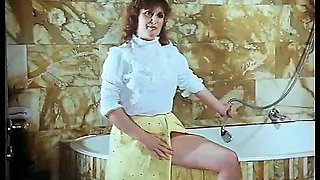 Two horny hairy retro girls sharing a big cock