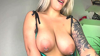 Jade shows off big boobs and areolas with pierced nipples