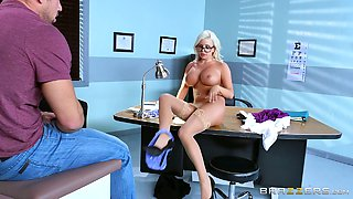 Nerdy blonde chick is totally down for the hardcore pounding