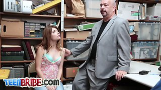 Shoplifter teen gets banged hard by the boss