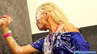 Bukkake lesbian tugs gloryhole cock