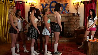 Girls have blindfolds on them in the sorority scene today