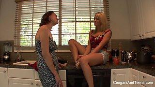 Brunette Milf Seduces Her Hot Blonde Stepdaughter - CougarsandTeens