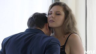 Wild fucking in the bathroom ends with cum in mouth for Sofia Curly