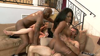 Friends party ends up with crazy and mind blowing interracial swinger sex