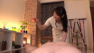 Japanese latex glove handjob massage