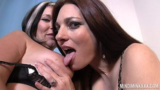 Two horny lesbian milfs are eating each others wet pussies