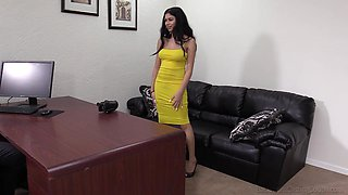 Curvy Latina Melania bent over the desk and pounded hardcore