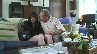 Young and old couple having sex together