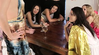 Femdom group give humiliation treatment to dude