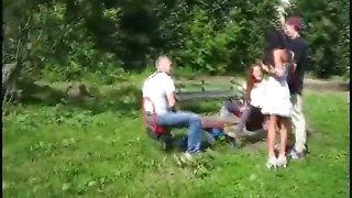 Playful teen swingers