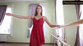 Horny gymnast Inessa in a red dress