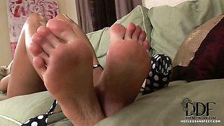 Blond in polka dot heels