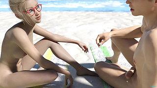 Indecent Desires-Busty blonde cutie in micro bikini flashing