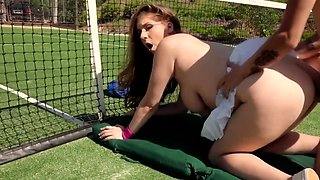 All-natural bimbo is tired of tennis but needs a hard penis