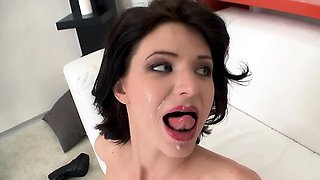 Slim and sexy brunette wife enjoys a fat dick deep inside
