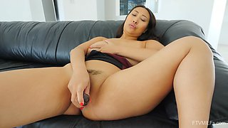 Solo Asian MILF enjoys home alone time with her new toy