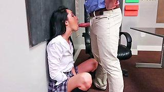 Innocent schoolgirl is bored at detention in this scene.