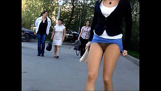 Street voyeur shoots attractive girls with sexy legs upskirt