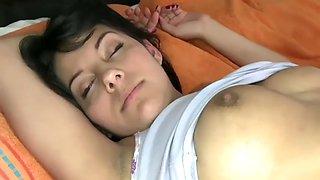 Gorgeous latina is surprised while sleeping