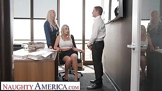 Naughty America - Sexy MILFS share a cock together