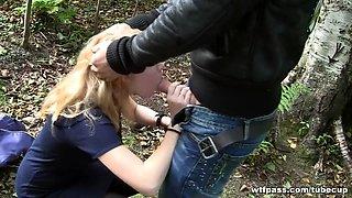 Blond engulfing knob on the street for 69 bucks
