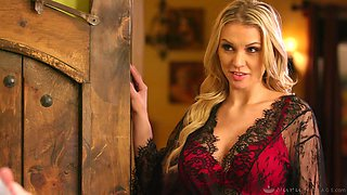 Tantalizing blonde in sexy lingerie Kenzie Taylor gives a massage before passionate sex