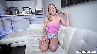 Appealing blonde throats and swallows in scenes of nice POV facial