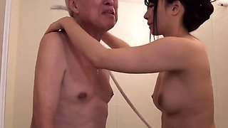 Lonely Japanese wife sexually satisfied by a horny old man