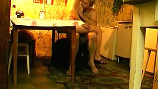 Russian girl fucks and old man in the bedroom and in the kitchen