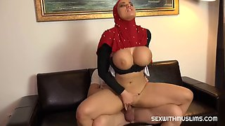 Beautiful secretary with huge boobs fucked hard at boss house