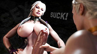 Bossy Cougar Shemale fucking submissive Girl and Cum in Pusy